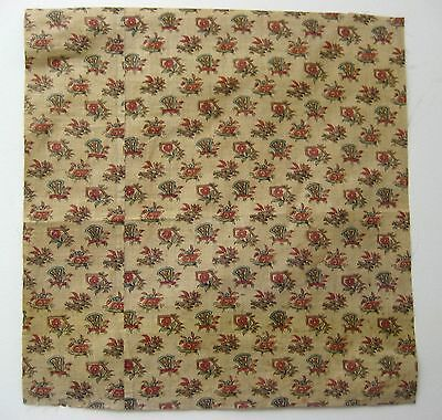 Antique Charming 19th C. French Chinoise Cotton Chintz Print Fabric (9425)
