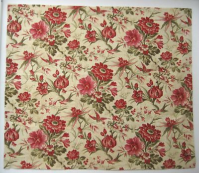 Antique Beautiful 19th Century  French Cotton Floral Print Fabric (9420)