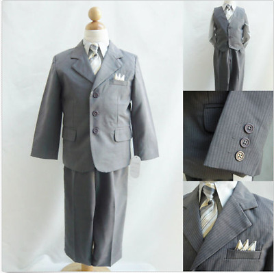 Boy Toddler Teen Gray With Gold Tie Ring Bearer Bridal Party Tuxedo Formal Suit