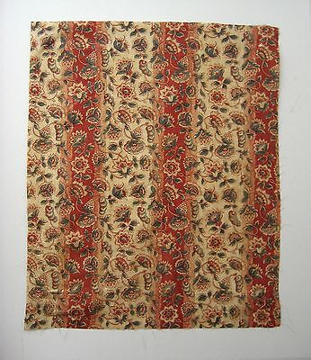 Antique Beautiful 19th C. French Exotic Floral Cotton Print Fabric (9533)