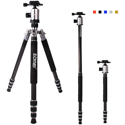 Pro Carbon Fiber Tripod Sliver Z818C Travel Monopod&Ball Head for DSLR Camera