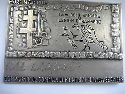 "FRENCH FOREIGN LEGION SILVERED PLAQUE 4""x 3"" FOR THE 13 DBLE CCAS."