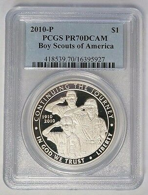 2010 P $1 Boy Scouts of America Commemorative Proof Silver Dollar PCGS PR70DCAM