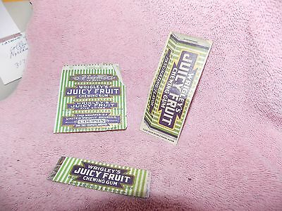 Vintage Gum  Wrapper & Matchbook  Juicy Fruit  3 Pcs. Empty