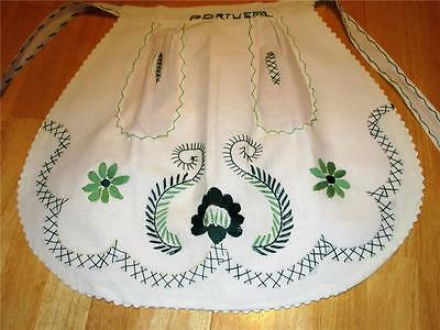 """White With Hand Embroidered Green Flowers, Swirls, X's & """"Portugal"""" Half Apron"""
