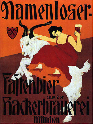 Mountain Goat Girl Beer Mamenloser Munchen Germany Vintage Poster Repro FREE S/H