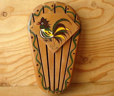 Vtg Painted Rooster Country Farm Farmhouse Wall Mount Wooden Knife Holder Block