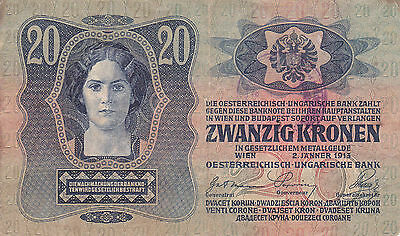 20 Krone Banknote 1919!with Finance Stamp Of Kingdom Of Serbs,croats&slovenes