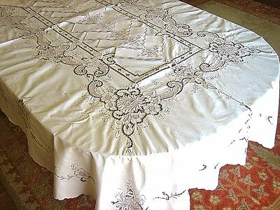 """Vintage Madeira Lace Hand Embroidered LINEN Tablecloth Spider Mums 95"""" &12 Napks"""