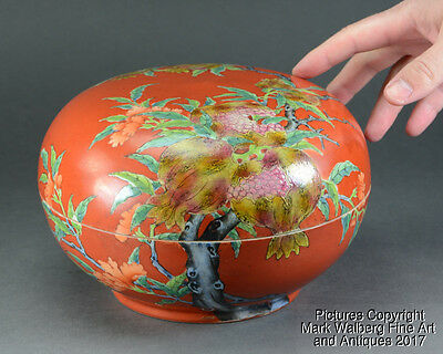 Chinese Famille Rose Porcelain Covered Box,Pomegranates,Republic Per. or Earlier