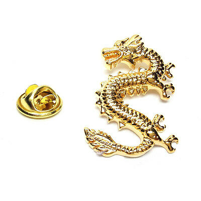 Gold Plated Lucky Dragon Lapel Pin Badge X2AJTP449