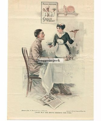 "1918 CREAM OF WHEAT Cereal WW1 ""None But The Brave""  art by Edward Brewer Vtg Ad"