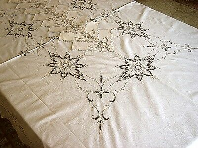 """Vintage Madeira Lace Hand Embroidered LINEN Tablecloth Star Flowers 82"""" & 8 Naps"""