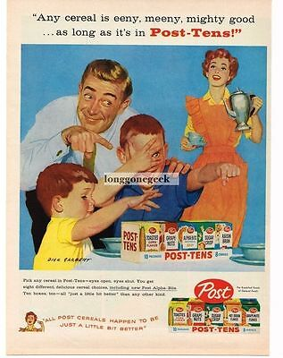 1958 POST Tens Cereal Family Fun At Breakfast art by DICK SARGENT Vtg Print Ad