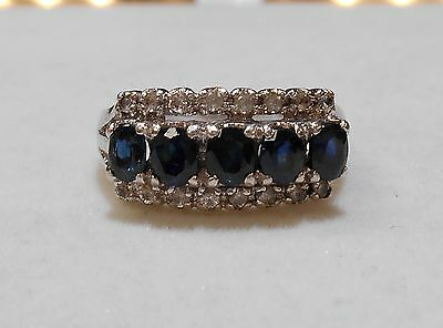 Vintage Oval Blue & White Sapphire Cocktail Ring 2tcw Sterling Silver sz6.5