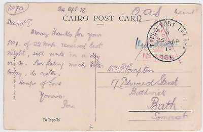 1918 Beirut Lebanon Field Post Office Passed Censor Ppc Active Service->Bath Gb