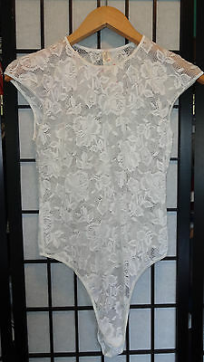 VTG 90s Victoria's Secret Stretch Lace Bodysuit Teddy All-in-One NWT Large White