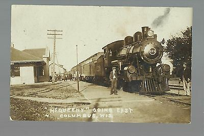 Columbus WISCONSIN RP 1908 DEPOT & TRAIN Station MCQUEENY nr Beaver Dam Madison