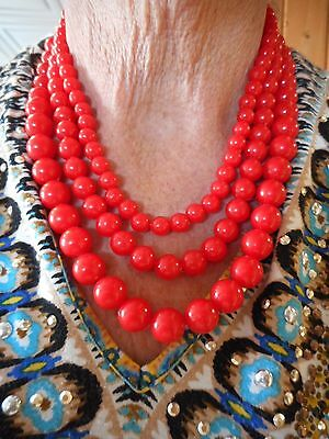 Authentic Vintage-1950's Triple Strand Red Lucite Bead Necklace