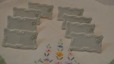 Lot OF 8 Vintage Porcelain Card Holders Place Cards WHITE WITH FLOWER