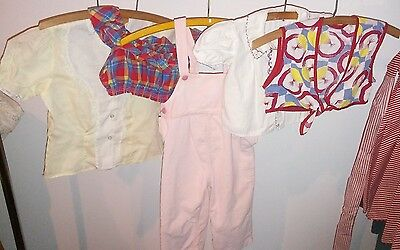Lot Vintage GIRLS Crop Top Blouse Summer Shirts Tops Overalls MADRAS (5 pc)