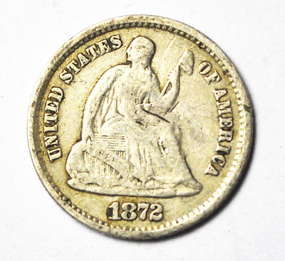 1872 S Above H10c Seated Liberty Silver Half Dime Five Cents San Francisco