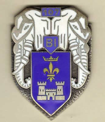 Genuine French Badge 107th Infantry Bn, 1964, Elephants, 50+ Years Old!