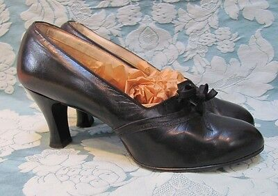 "SCARCE Orig VTG 1930s *DEADSTOCK ""GUNMOLL"" ERA Flapper PUMPS w/TIES* WEARABLE Sz"