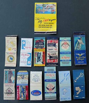 Vintage LOT of 14 Airplanes Aviation Cruise Ship Transportation MATCHBOOK COVERS