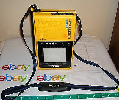 Vintage Sony FD-45A  Watchman Sport TV FM Stereo & Carry Strap-Works Great!