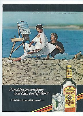 Gordon's Gin 1986 Print Advertising Man Woman Artist Beach Mitchel Gray