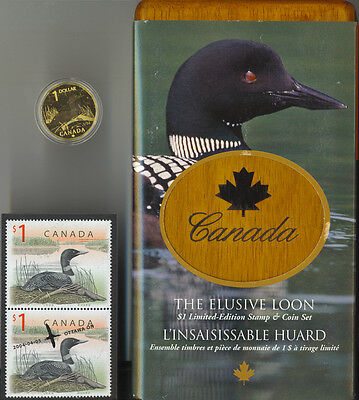 2004 Canada Elusive Loon $1 Coin and Stamp Set RCM Box