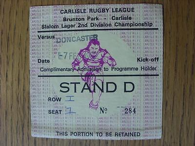 07/02/1972 Ticket: Rugby League - At Carlisle United - Carlisle v Doncaster (Cre