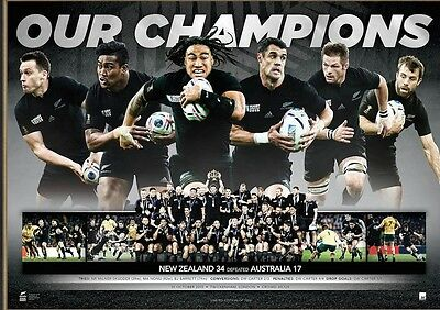 New Zealand All Blacks 2015 World Cup Champions Limited Print Mccaw Carter