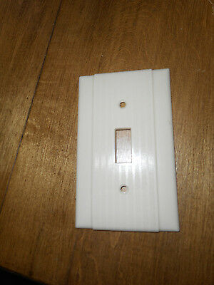 Vntg Uniline Switch Plate Cover Ivory Bakelite Plastic Ribbed New Old Stock NOS