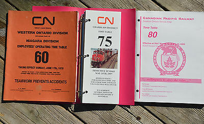 LOT 3 Vintage Railroad EMPLOYEE TIME TABLE Canadian National Pacific S Ontario