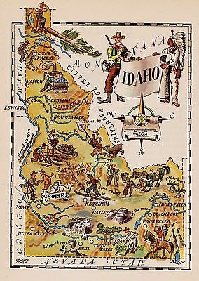 1940s Vintage Animated IDAHO Map Antique State Map of Idaho Picture Map 3837