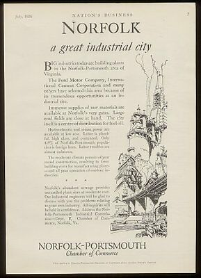 1926 Norfolk-Portsmouth Virginia Chamber of Commerce vintage print ad