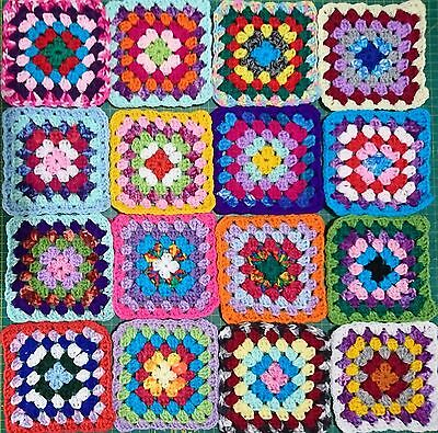 16 Crochet Granny Squares 12Cm Each Acrylic Multicoloured Orange Blue Red Pink