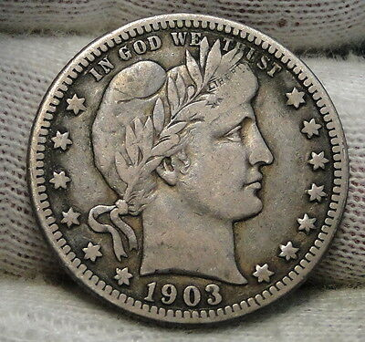 1903 O Barber Quarter 25 Cents - Nice Coin, Free Shipping (6295)