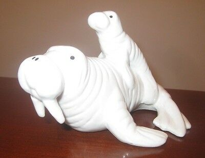 White Walrus Mom with Baby on back Figurine