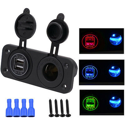 Universal Twin Dual Port USB In Car Socket Lighter Charger Adapter LED Voltmeter