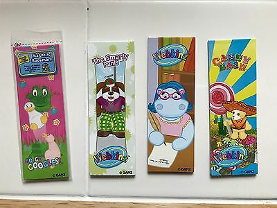 WEBKINZ Lot of 4 Magnetic Bookmarks and 1 Folder - One unused code - Googles