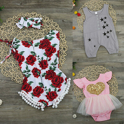 Newborn Toddler Kid Baby Girl Print Romper Jumpsuit Sunsuit Headband Clothes Set