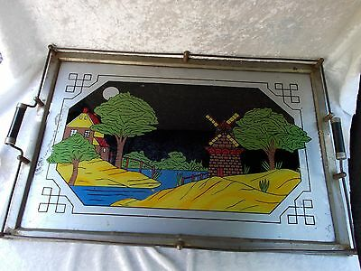 Vintage Art-Deco Reverse Painting Wood/Chrome Serving Tray