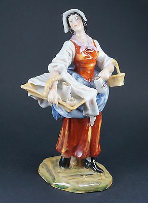 Antique German Carl Thieme Dresden Porcelain Lady Figurine With Baskets