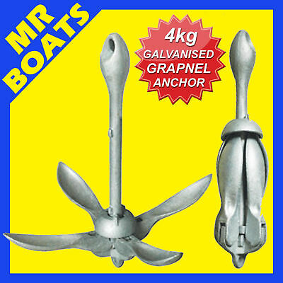 4kg FOLDING GRAPNEL ANCHOR - Galvanised - PWC Kayak Inflatable Boat FREE POST