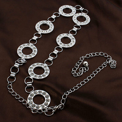 Ladies Body Waist Chain Women Charm Belt Silver Diamante Diamond Adjustable Size