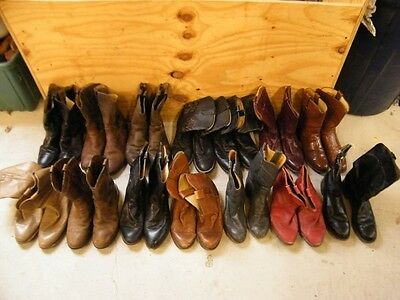 Wholesale Lot Of 14 Mens Roper Ranch Worn Leather Craft Cowboy Western Boots