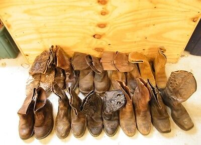 Wholesale Lot Of 10 Mens Ranch Worn Leather Pull-On Cowboy Western Work Boots